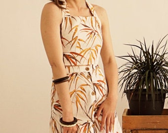 Tropical Two Pieces Skirt / Button Skirt / A Line Skirt / Summer Skirt / Vintage Skirt / Wooden Buttons Skirt