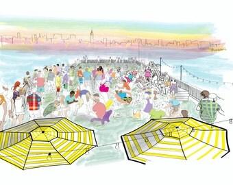Hoboken (Pier 13) NYC Skyline Illustration Wall Art