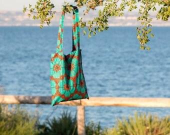 Tote Bag Orange / Turquoise in Wax