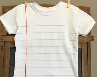 Children's Notebook Paper Shirt, stocking stuffer, Christmas gift, back to school,