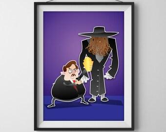 The Undertaker & Paul Bearer Print - WWF(E) Superstar Illustration