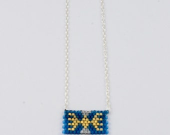 Peyote Stitched Pendant Necklace on Sterling Silver Chain