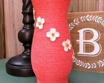 Coral Centerpiece Vase w/ White Flowers