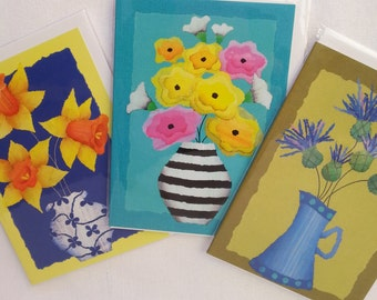 Greeting card set of 3, blank card, bright flowers, torn paper art