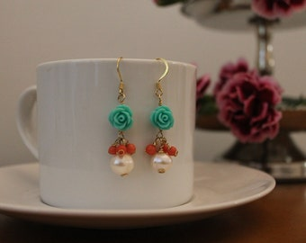 Rose earrings with pearls  and corals.