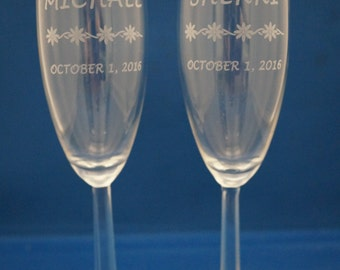 Wedding Date Champagne Flutes