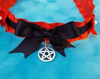 Red and Black Pentagram Ruffle Choker