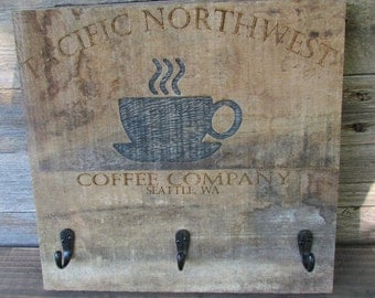 Reclaimed wood engraved coffee sign/cup holder