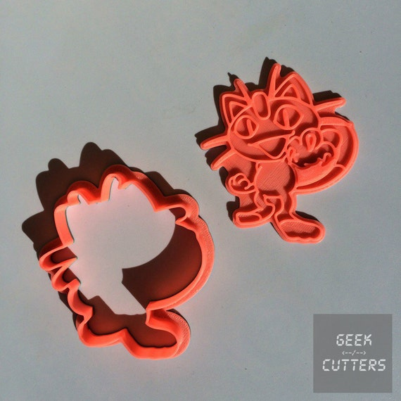 Pokemon - Meowth Cookie Cutter - Fondant, Backing Mold, 3d printed, Cookiecutter