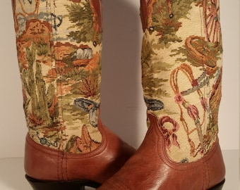 Size 7 Med Vintage Women's Dan Post Tapestry & Brown Leather Beautiful Boots