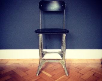 Vintage 1940's Industrial Machinist Chair in Black