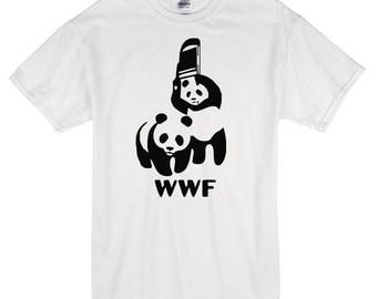 WWF wrestling pandas T-Shirt white 100% cotton wwe funny
