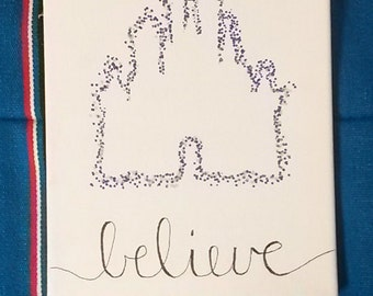 "Polka Dot Outline Disney Castle Canvas Wall Hanging 8"" by 10"""