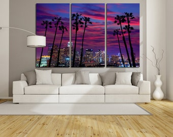 Large Wall Cityscape Canvas Color Multipanel Canvas Sunset View SkylineCity Canvas Art Large  1-3-4-5 Panel Cityscape Print