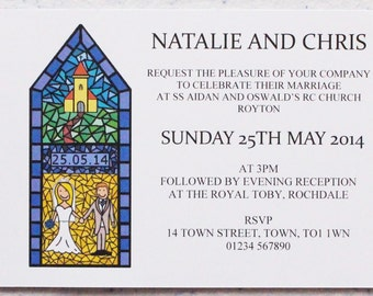 50 Personalised Wedding Stained Glass Invitations