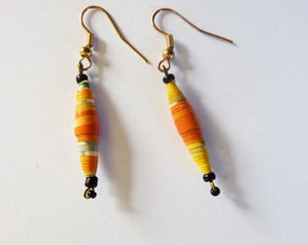 Orange Paper Earrings