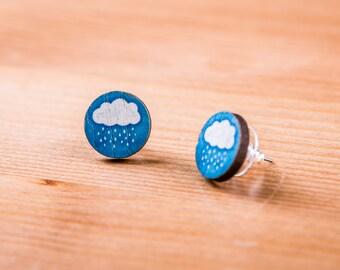 Wooden earrings / cloud / Cloud / jewelry / Earrings sky