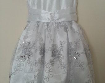 White Satin and Tulle Flower Girl Dress, Party Dress, Birthday Dress, Christmas Dress, Sleeveless dress