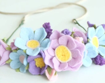 Felt Flower Crown - Felt Flower Headband - Baby Crown - Flower Crown - Flower Headband - Baby Shower Gift - Blue Headband
