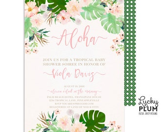 Tropical Baby Shower Invitation / Luau Baby Shower Invitation / Coed Baby Shower Invitation / Couples Baby Invitation / Boho Chic TP01