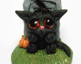 "Tiny Spooky Black Kitten Trollfling Troll in a Cemetery ""Boo-Boo"" by Amber Matthies"