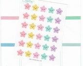 30 x kawaii, star, planner stickers, color code, reminders, blank, bullet points, checklist, event, key, task, lists, decoration, S1STR2