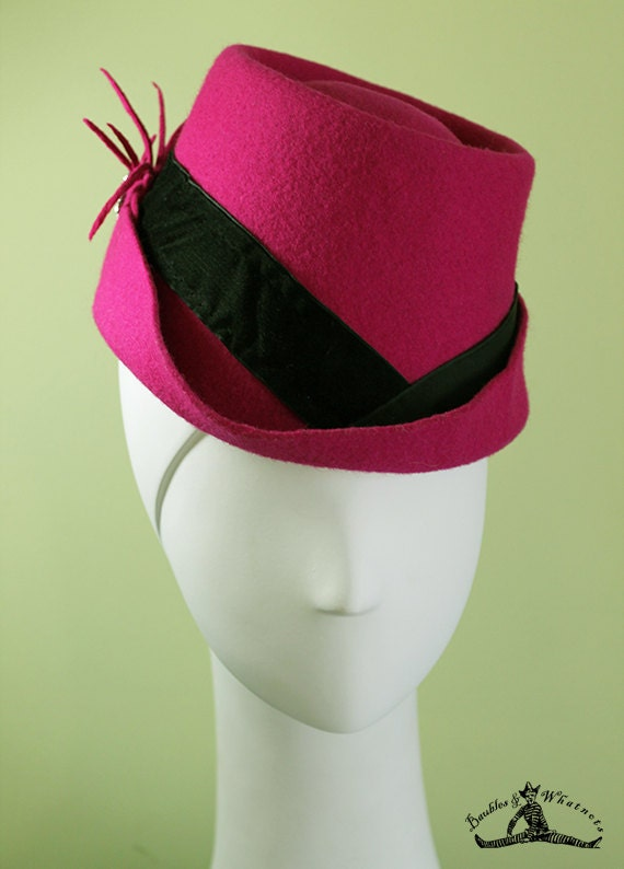 Women's Hot Pink Wool Fedora Hat - Unique Bright Pink Women's Fedora - 1940s Women's Pink Fedora - OOAK