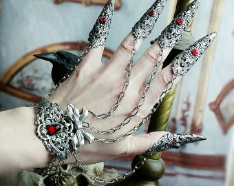 Vampire Nail Rings -Armor Rings - 5 piece Claw Rings Slave Bracelet with Your Choice of Red or Black Jewels