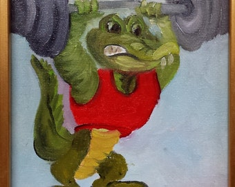 Gator in Weight Training Barbara Haviland Barbsgarden Animals,cartoon