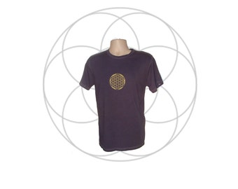 Ready to ship Organic shirts- Mens Organic Cotton T shirt Hand dyed printed with Flower of Life Size Medium