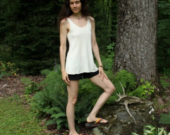 womens organic hemp tank top - flare fit - 100% hemp and organic cotton - custom made to order
