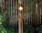 Wind Chimes Natural Pacific Beach Stone with Large Copper Chimes Zen Garden