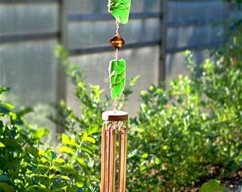 Wind Chimes Glass Copper green sea glass beach glass stained glass suncatcher windchime