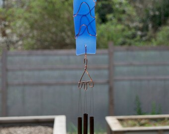 Wind Chime Blue Sea Glass Sun Catcher with Brass Chimes, beach glass, stained glass windchimes