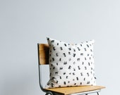 Cushion cover - screen printed Crowns - charcoal ink on organic cotton/hemp fabric