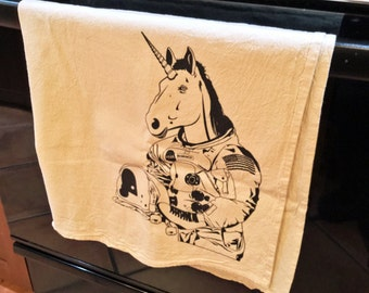 Kitchen Towel: Roller Skating Unicorn Astronaut, Dischcloths, Flour Sack Towel, Dish Towel, Kitchen Gift, Roller Derby Gift, Neil Armstrong