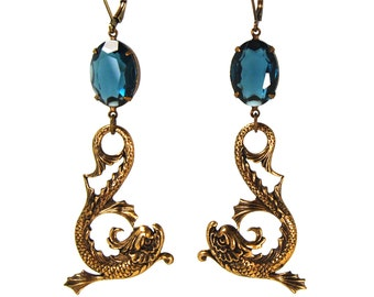 Dauphin Bleu Large Rococo Style Earrings with Antique French Dolphins in Antiqued Brass with Montana Blue Czech Glass Stones