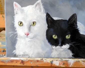 Custom Cat Portrait Oil Painting, Custom Pet Portrait, Artist Robin Zebley, Unique Pet Lovers Gift, cat art