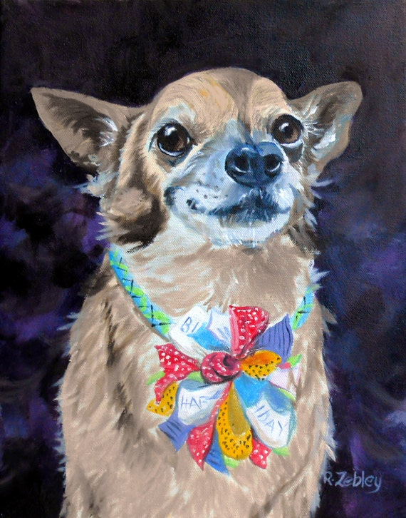 Dog Portrait Oil Painting, Yorkie, Chihuahua or any Breed, Custom Pet Portrait Art, Oil Painting from Photos, Artist Robin