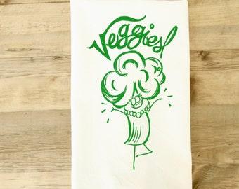 Veggie Tea Towel - Vegetable dish towel - veggie tea towel - vegetarian - vegan kitchen