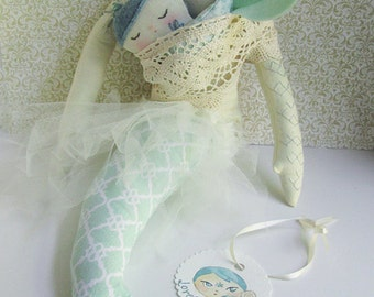 Custom made mermaid OOAK Tattooed embroidered doll