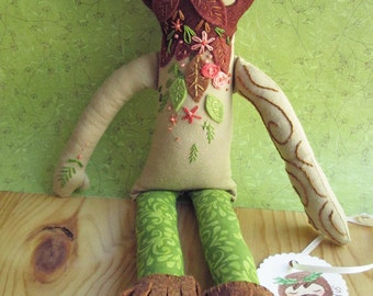 OOAK Tattooed Embroidered cloth Green man fairy doll Silvius