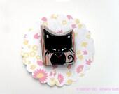 Handmade Cat Brooch Kawaii Black Kitty Pin