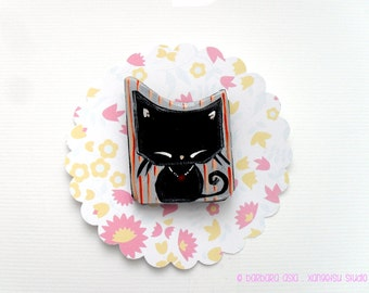 Cat Brooch Kawaii Black Kitty Pin