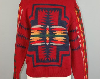Pendleton southwestern western native american indian aztec wool sweater sz M