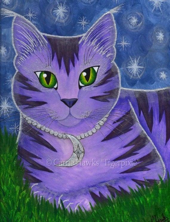 Whimsical Cat Painting Moon Cat Art Astra Purple Cat Celestial Cat Stars Fantasy Cat Art Print 8x10 Cat Lovers Art