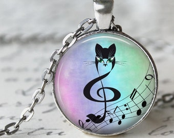Music Cat Pendant, Necklace or Key Chain - Choice of 4 Bezel Colors - One Inch Round