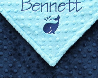 Baby Boy Blanket , Personalized Baby Boy Blanket - Aqua and Navy or Any Combination , Whale Blanket , Custom Embroidery Options Available