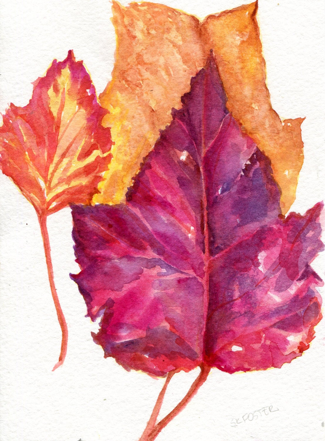 Autumn Leaves Watercolor Painting fall painting leaf