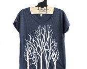 Large-  Tri-Blend Navy Dolman Tee with Branch Trees Screen Print